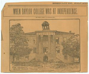 Primary view of object titled 'When Baylor College was at Independence'.