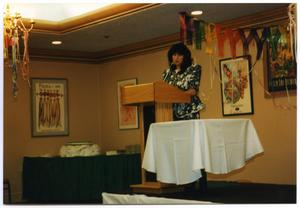 Primary view of [Woman Delivering Speech at Service to Youth Award Program]