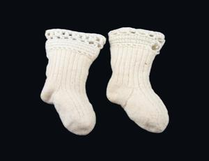 Primary view of object titled 'Knitted socks'.