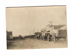 Primary view of object titled 'Main Street, with wagons, Richardson, Texas'.