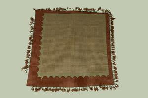 Primary view of object titled 'Fringed coverlet'.