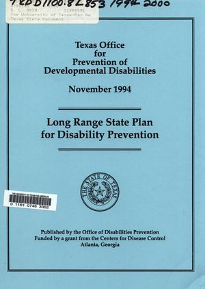 Primary view of object titled 'Long Range State Plan for Disability Prevention'.