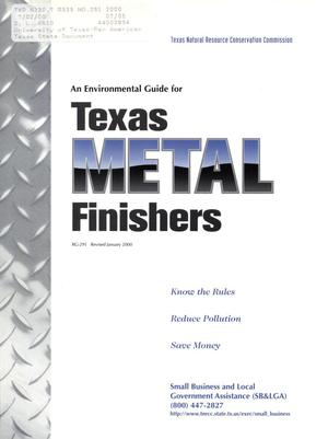 Primary view of object titled 'An Environmental Guide for Texas Metal Finishers'.