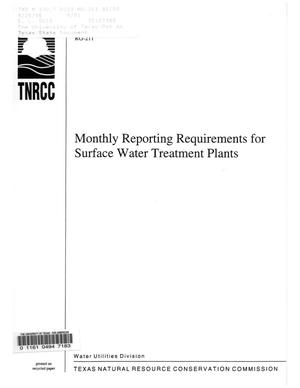 Primary view of object titled 'Monthly Reporting Requirements for Surface Water Treatment Plants'.