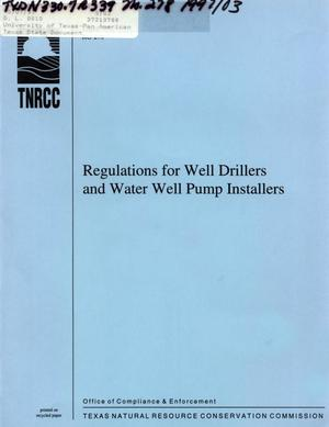 Primary view of object titled 'Regulations for Well Drillers and Water Well Pump Installers'.