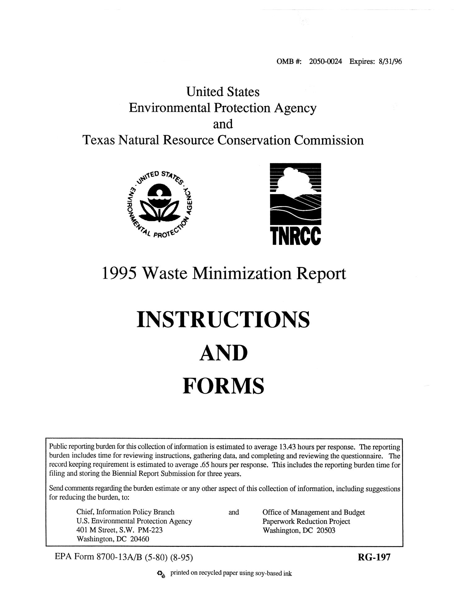 1995 Waste Minimization Report Instructions and Forms                                                                                                      [Sequence #]: 1 of 102