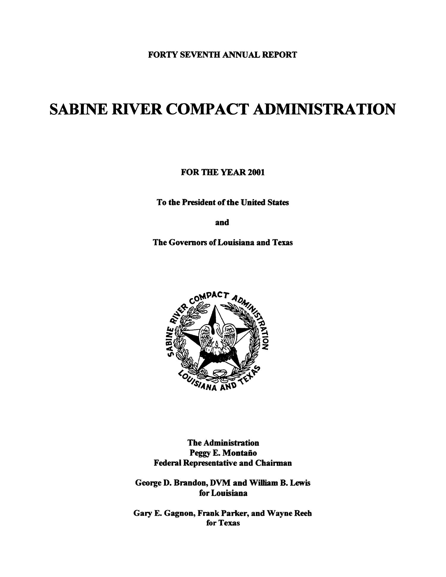 Sabine River Compact Administration Annual Report: 2001                                                                                                      I