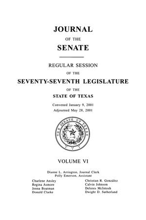 Primary view of object titled 'Journal of the Senate, Regular Session of the Seventy-Seventh Legislature of the State of Texas, Volume 6'.