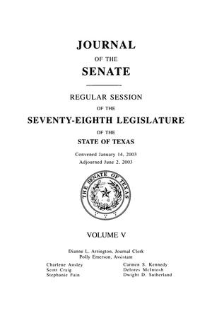 Primary view of object titled 'Journal of the Senate, Regular Session of the Seventy-Eighth Legislature of the State of Texas, Volume 5'.