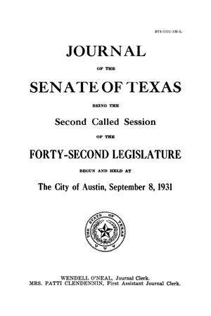 Primary view of object titled 'Journal of the Senate of Texas being the Second Called Session of the Forty-Second Legislature'.