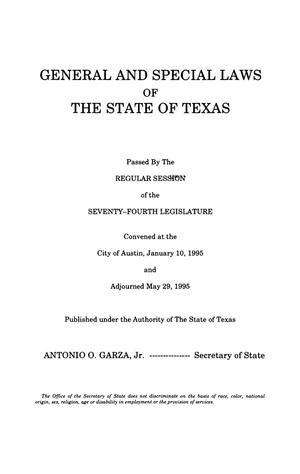 Primary view of object titled 'General and Special Laws of The State of Texas Passed By The Regular Session of the Seventy-Fourth Legislature, Volume 3'.