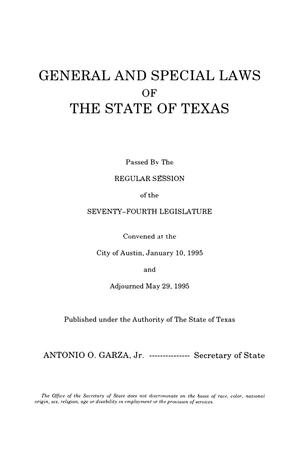 Primary view of object titled 'General and Special Laws of The State of Texas Passed By The Regular Session of the Seventy-Fourth Legislature, Volume 5'.