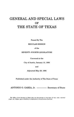 Primary view of object titled 'General and Special Laws of The State of Texas Passed By The Regular Session of the Seventy-Fourth Legislature, Volume 6'.