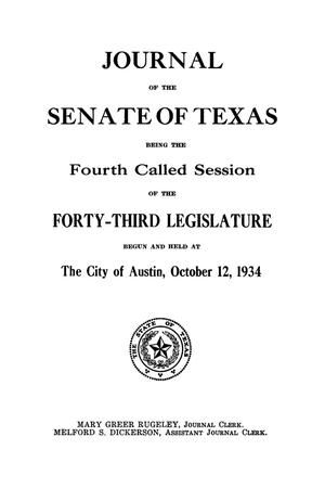 Primary view of object titled 'Journal of the Senate of Texas being the Fourth Called Session of the Forty-Third Legislature'.