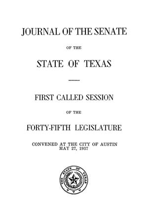 Primary view of object titled 'Journal of the Senate of the State of Texas, First Called Session of the Forty-Fifth Legislature'.