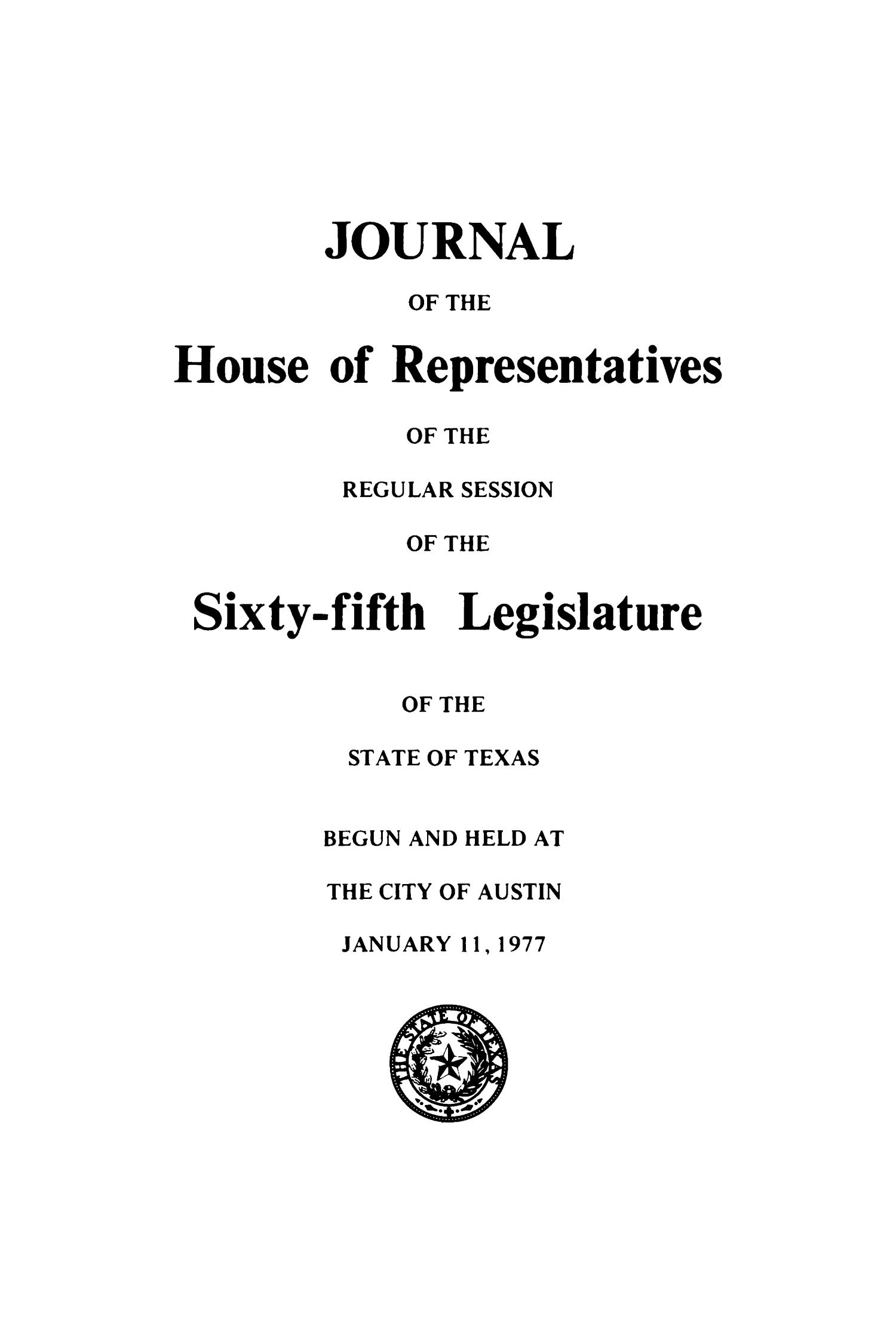 Journal of the House of Representatives of the Regular Session of the Sixty-Fifth Legislature of the State of Texas, Volume 1                                                                                                      Title Page
