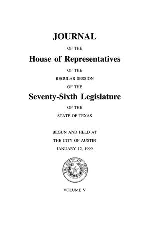 Primary view of object titled 'Journal of the House of Representatives of the Regular Session of the Seventy-Sixth Legislature of the State of Texas, Volume 5'.