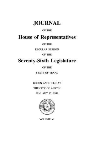 Primary view of object titled 'Journal of the House of Representatives of the Regular Session of the Seventy-Sixth Legislature of the State of Texas, Volume 6'.