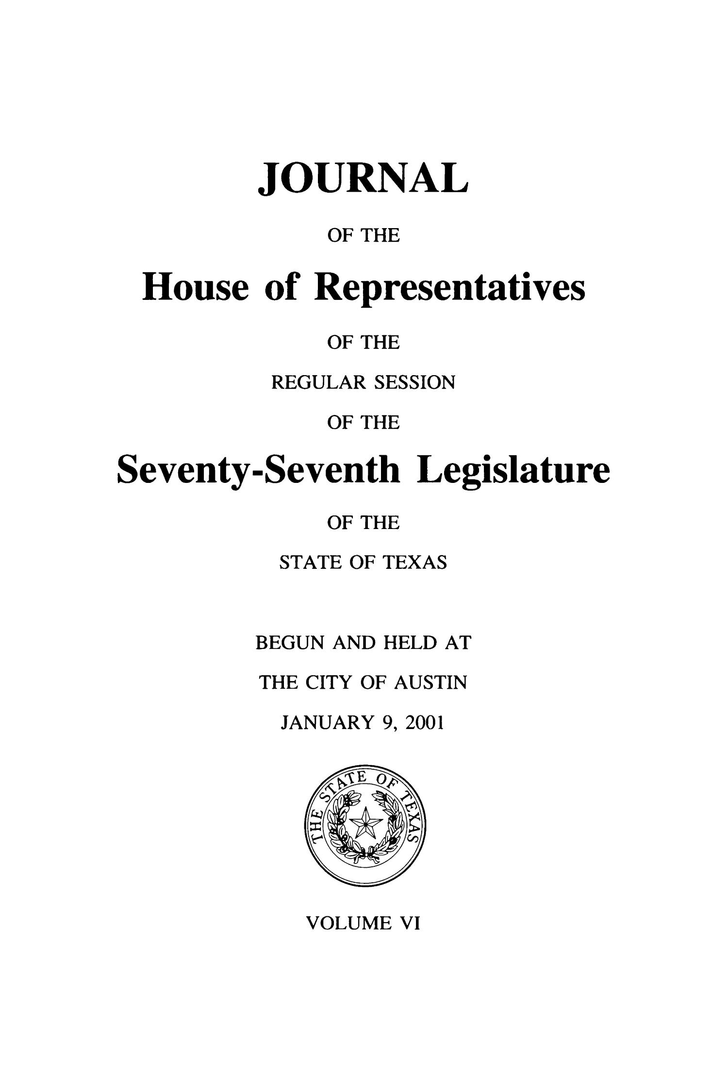 Journal of the House of Representatives of the Regular Session of the Seventy-Seventh Legislature of the State of Texas, Volume 6                                                                                                      Title Page