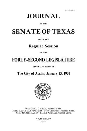 Primary view of object titled 'Journal of the Senate of Texas being the Regular Session of the Forty-Second Legislature'.