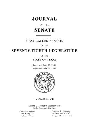 Primary view of object titled 'Journal of the Senate, First, Second, and Third Called Sessions of the Seventy-Eighth Legislature of the State of Texas, Volume 7'.