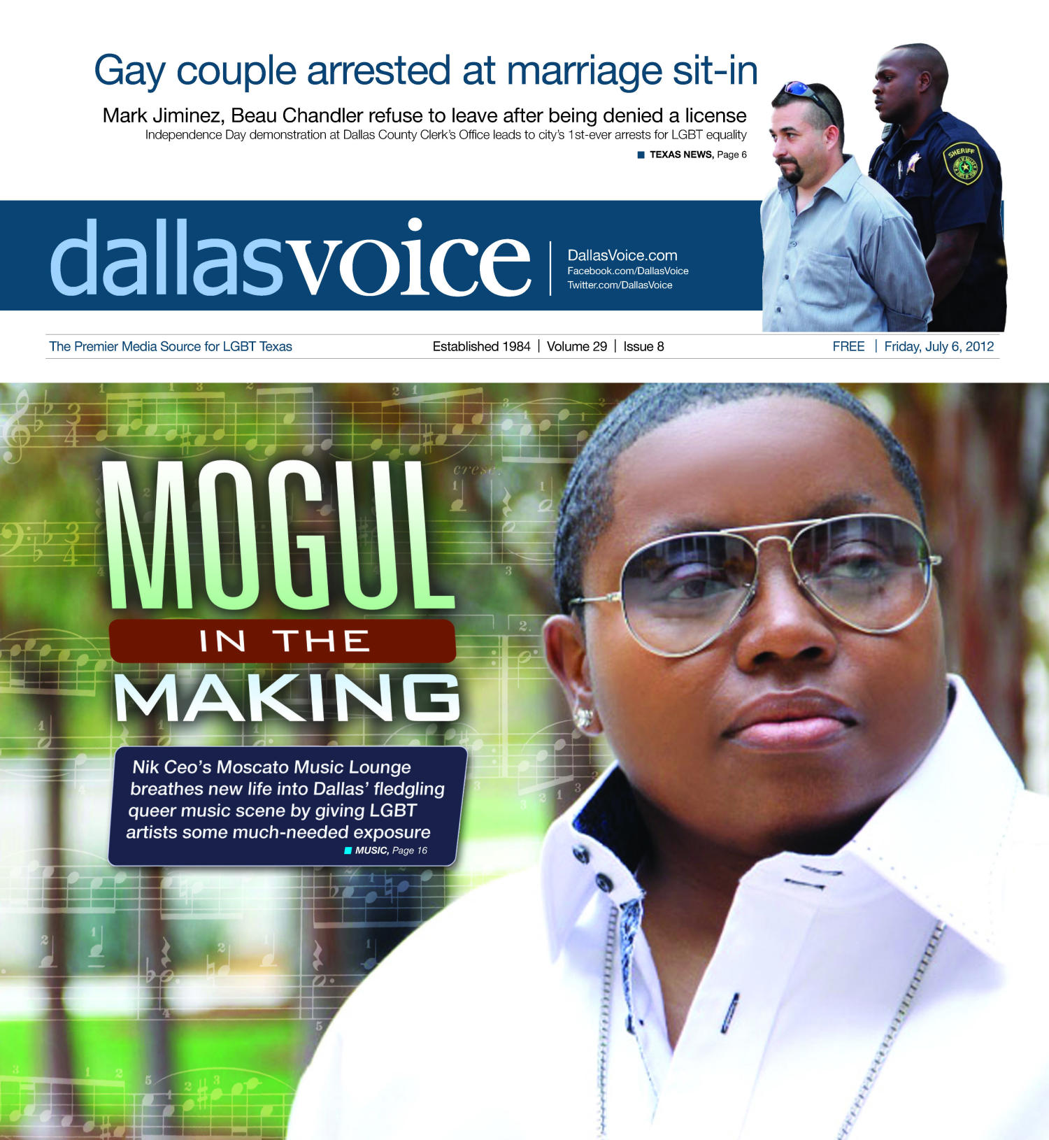 Dallas Voice (Dallas, Tex.), Vol. 29, No. 8, Ed. 1 Friday, July 6, 2012                                                                                                      [Sequence #]: 1 of 36