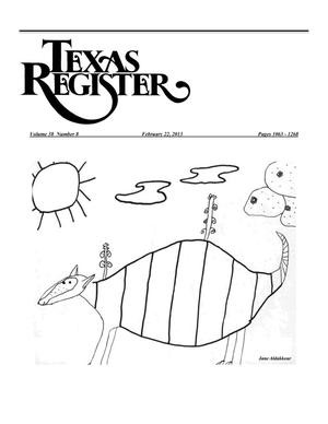 Primary view of object titled 'Texas Register, Volume 38, Number 8, Pages 1063-1268, February 22, 2013'.