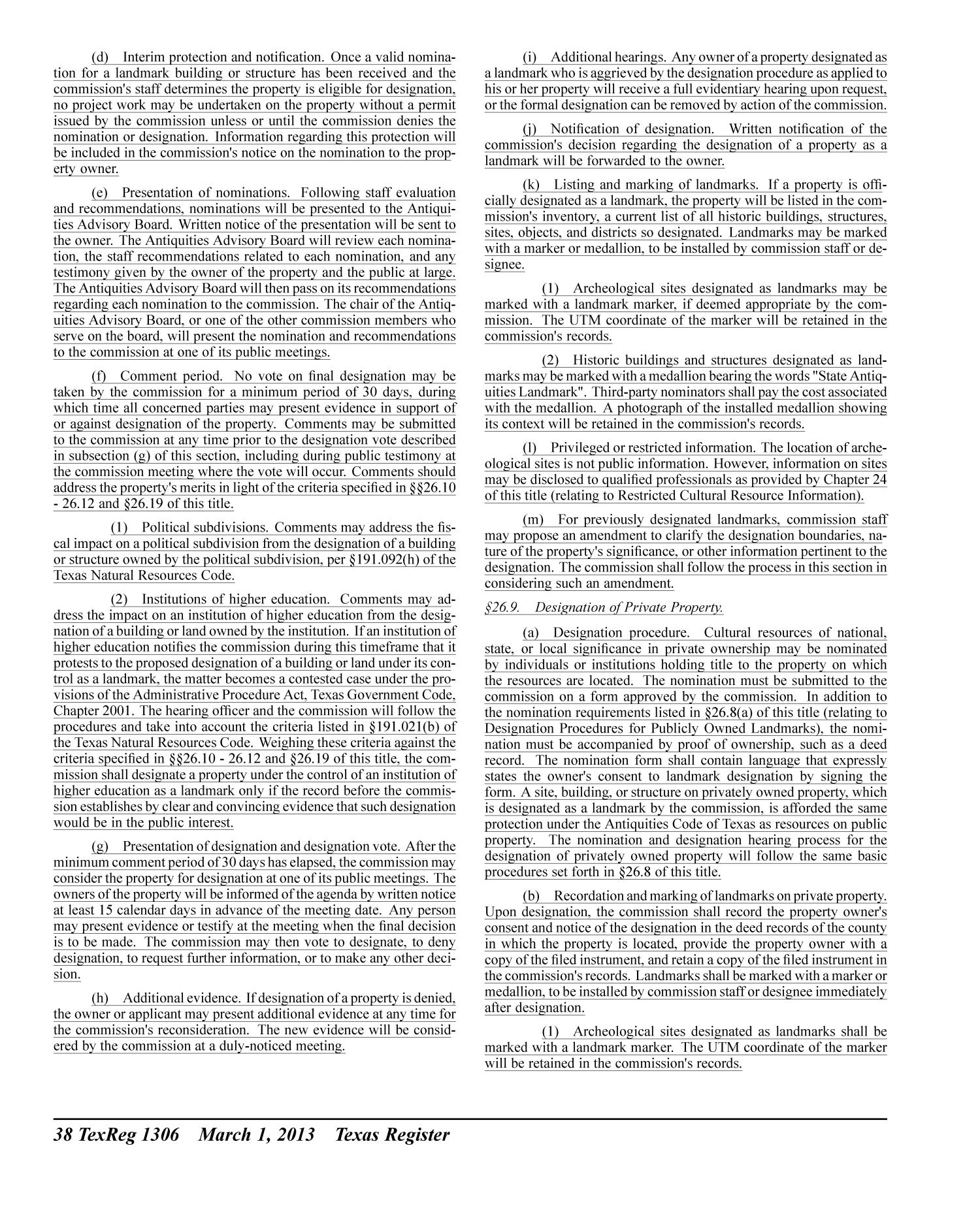 Texas Register, Volume 38, Number 9, Pages 1269-1452, March 1, 2013                                                                                                      1306