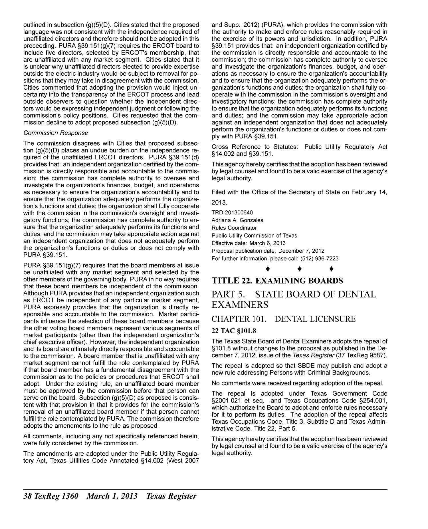 Texas Register, Volume 38, Number 9, Pages 1269-1452, March 1, 2013                                                                                                      1360