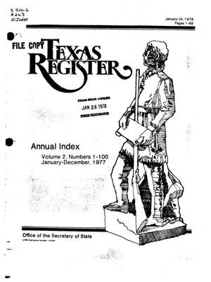Primary view of object titled 'Texas Register, Volume 2, 1977 Annual Index, Pages 1-69, January 24, 1978'.