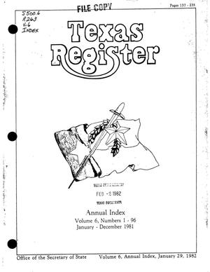 Primary view of object titled 'Texas Register, Volume 6, Annual Index, Pages 137-235, January 29, 1981'.