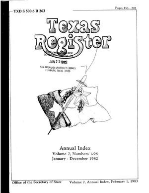 Primary view of object titled 'Texas Register, Volume 7, 1982 Annual Index, Pages 153-292, February 1, 1983'.