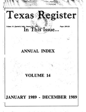 Primary view of object titled 'Texas Register: Annual Index January 1989 - December 1989, Volume 14 - pages 209-329, January 19, 1990'.