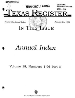 Primary view of object titled 'Texas Register: Annual Index January-December, 1993, Volume 18, Number 1-96, (Part II - Open Meetings, Regional Meetings, and Index to Statute), January 21, 1994'.