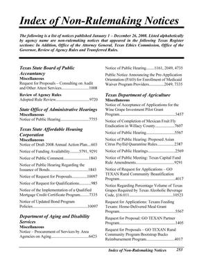 Primary view of object titled 'Texas Register: Annual Index January 1 - December 26, 2008, Index of Non-Rulemaking Notices, Pages 253-304.'.
