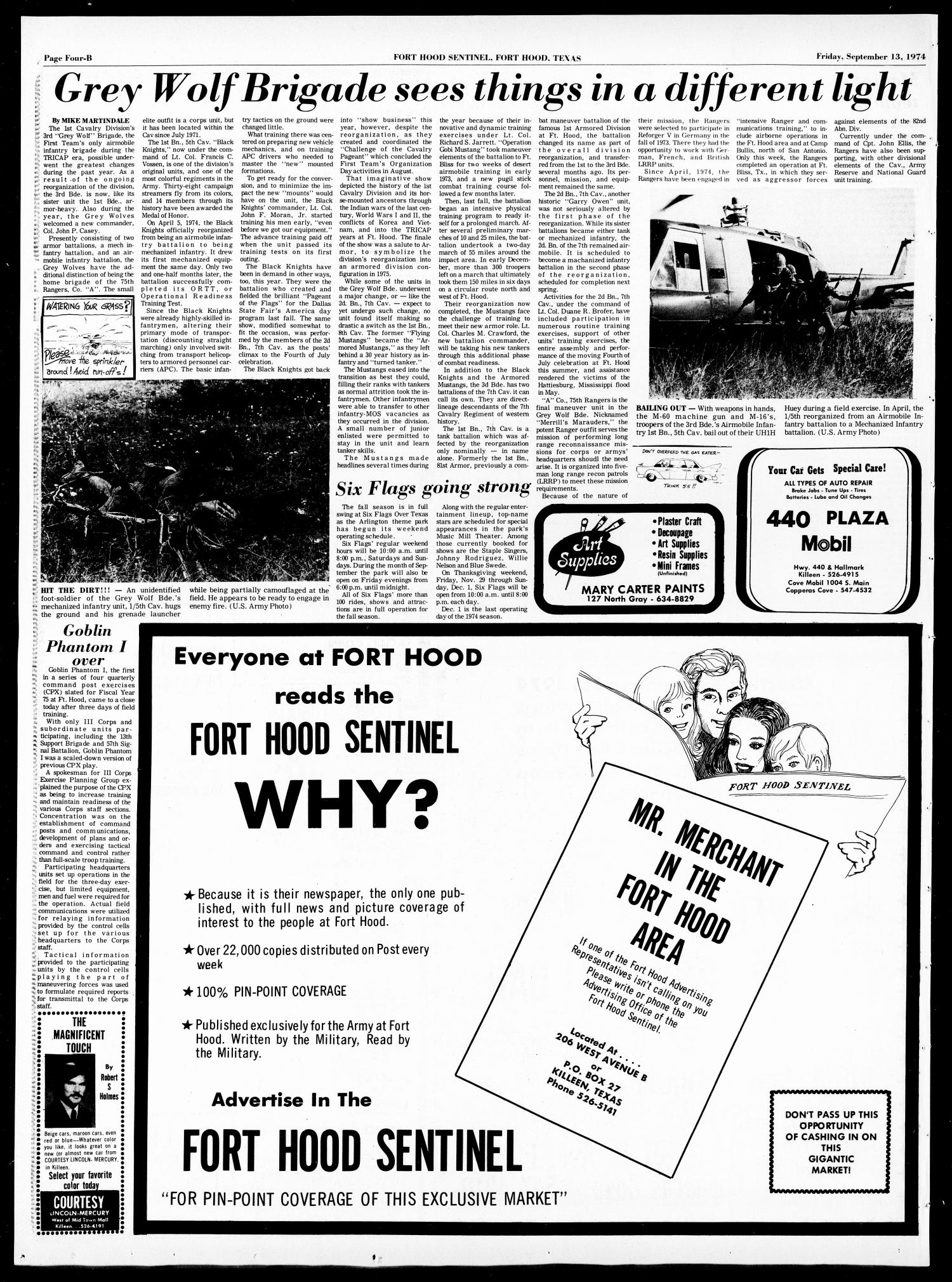 The Fort Hood Sentinel (Temple, Tex.), Vol. 33, No. 27, Ed. 1 Friday, September 13, 1974                                                                                                      [Sequence #]: 18 of 28