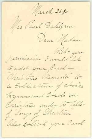Primary view of object titled '[Letter from Miss LaFontaine]'.