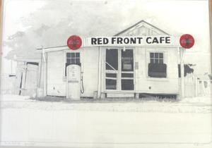Primary view of object titled 'Red Front Cafe, Lyons, Texas'.