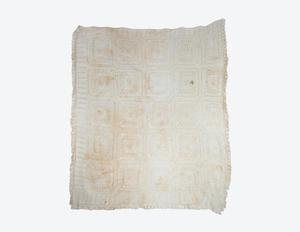 Primary view of object titled 'Knitted cotton coverlet'.