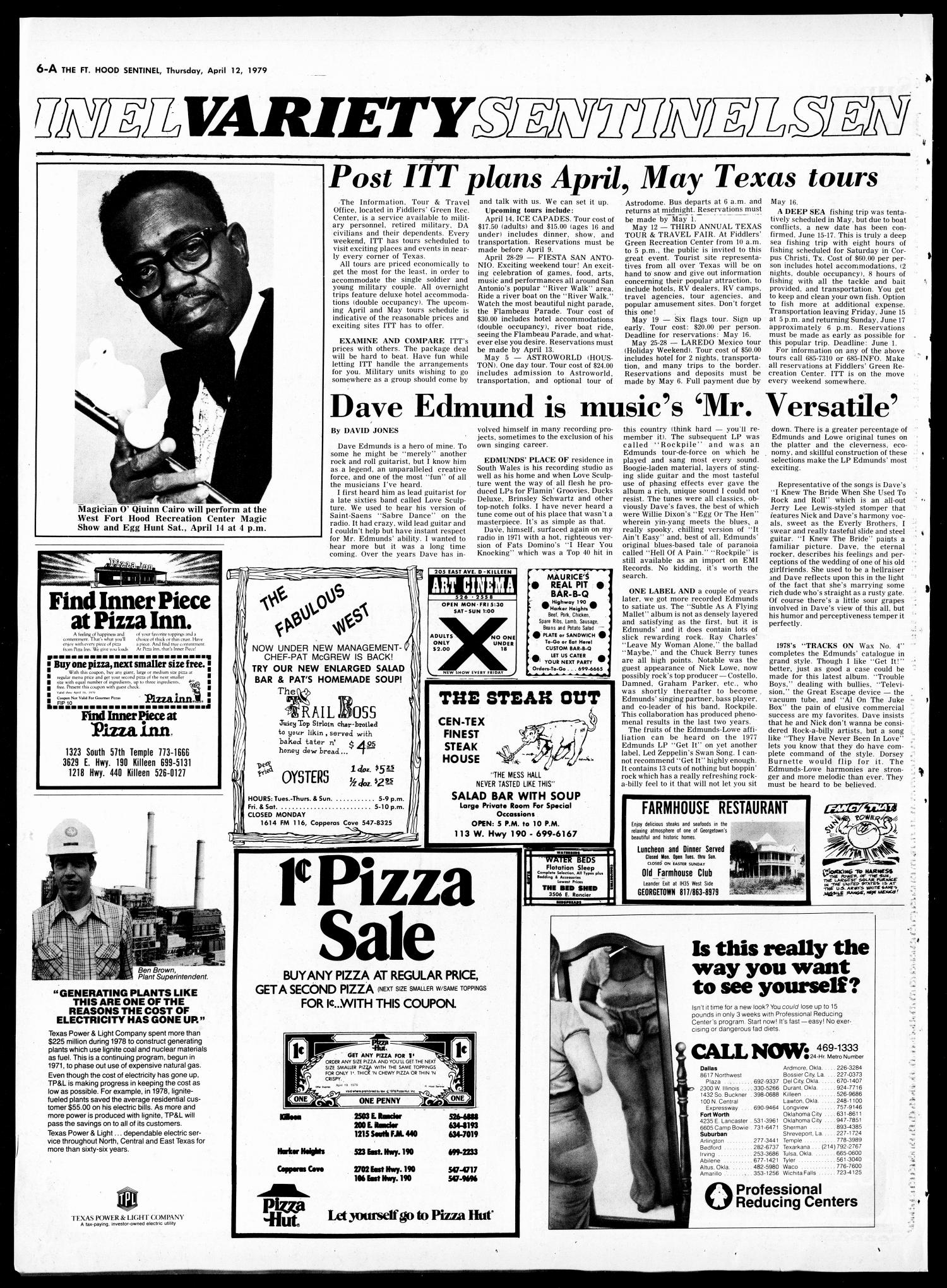 The Fort Hood Sentinel (Temple, Tex.), Vol. 38, No. 6, Ed. 1 Thursday, April 12, 1979                                                                                                      [Sequence #]: 6 of 36