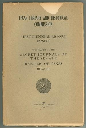 Primary view of object titled 'Texas Library and Historical Commission: First Biennial Report 1909-1910'.