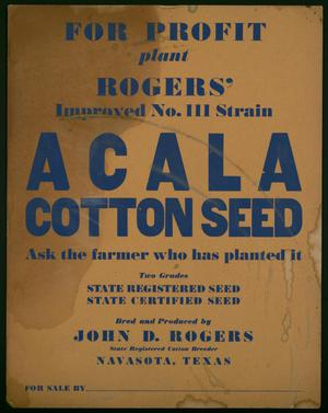 Primary view of object titled 'Acala cotton seed poster'.