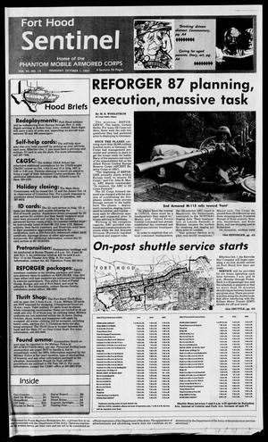 Primary view of object titled 'The Fort Hood Sentinel (Temple, Tex.), Vol. 46, No. 19, Ed. 1 Thursday, October 1, 1987'.