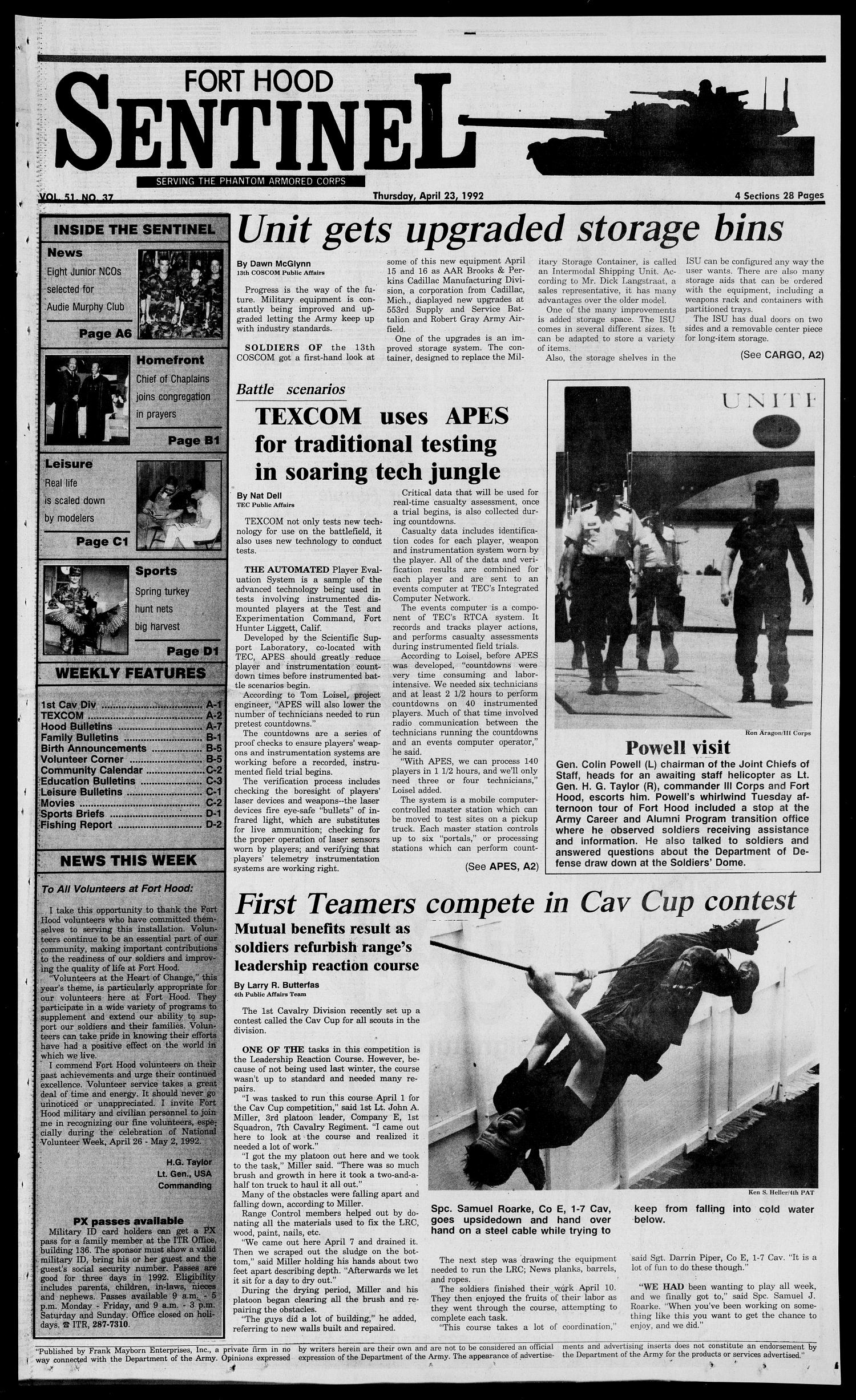 The Fort Hood Sentinel (Temple, Tex.), Vol. 51, No. 37, Ed. 1 Thursday, April 23, 1992                                                                                                      [Sequence #]: 1 of 28