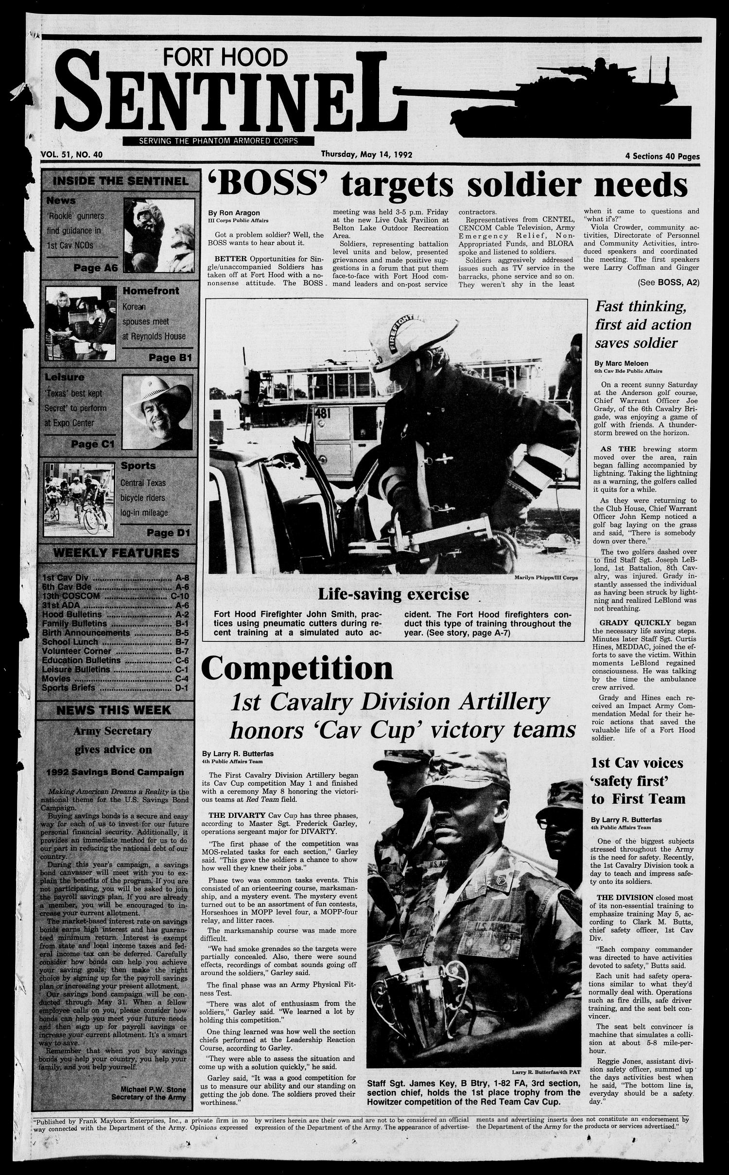 The Fort Hood Sentinel (Temple, Tex.), Vol. 51, No. 40, Ed. 1 Thursday, May 14, 1992                                                                                                      [Sequence #]: 1 of 40