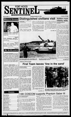 Primary view of object titled 'The Fort Hood Sentinel (Temple, Tex.), Vol. 53, No. 12, Ed. 1 Thursday, November 18, 1993'.