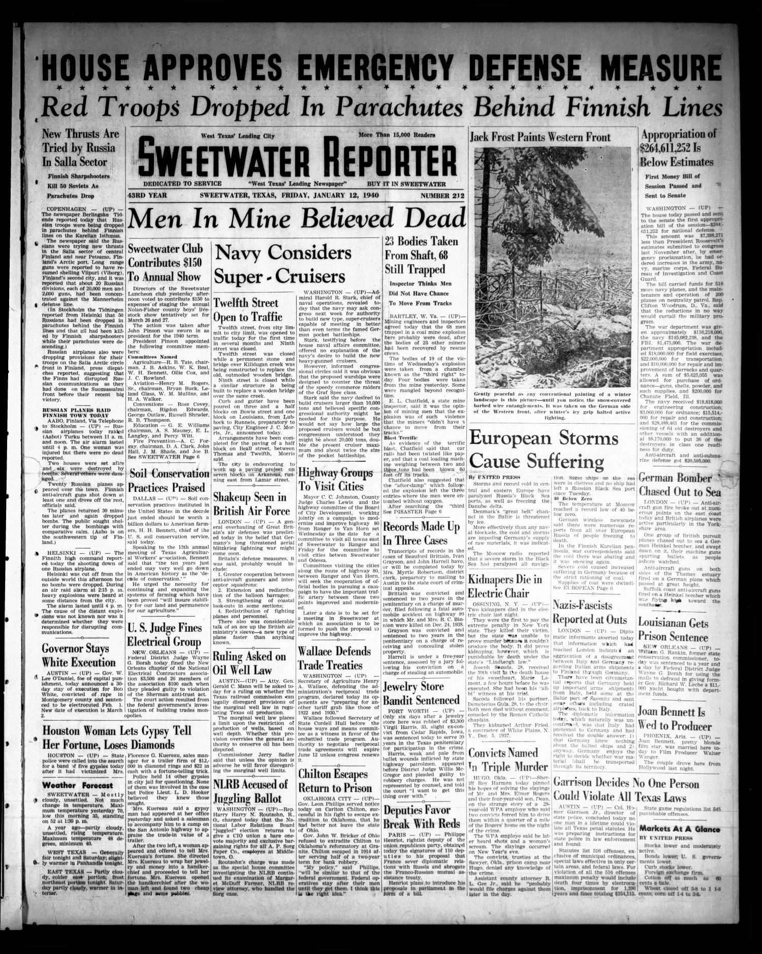 Sweetwater Reporter (Sweetwater, Tex.), Vol. 43, No. 212, Ed. 1 Friday, January 12, 1940                                                                                                      [Sequence #]: 1 of 8