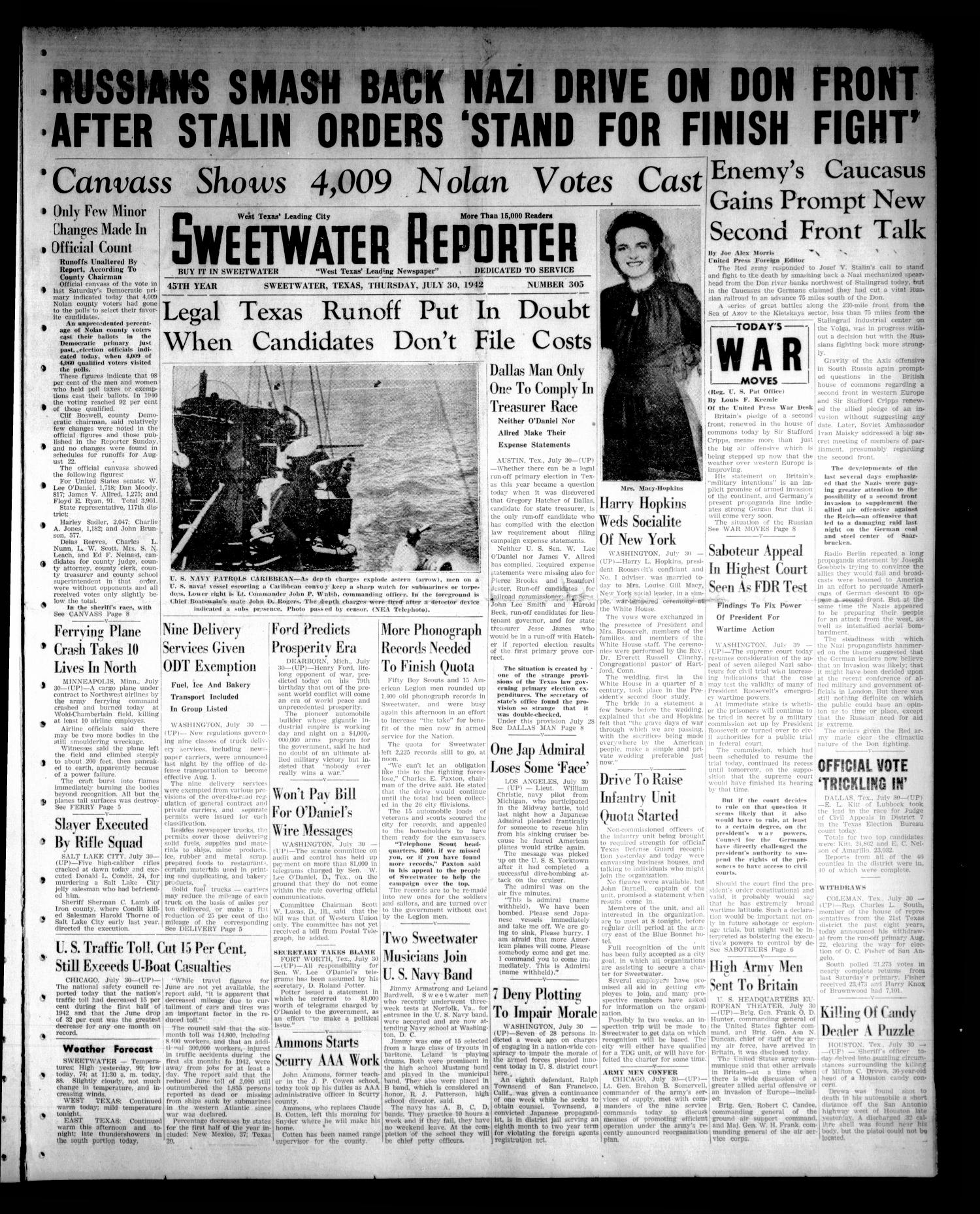Sweetwater Reporter (Sweetwater, Tex.), Vol. 45, No. 305, Ed. 1 Thursday, July 30, 1942                                                                                                      [Sequence #]: 1 of 8