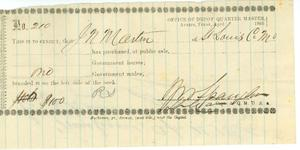 Primary view of object titled '[Receipt from the Office of Depot Quarter Master, Austin, TX, for one mule]'.