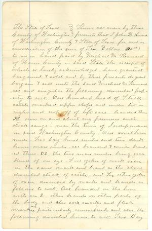 Primary view of object titled '[Deed of Trust transferring livestock to M. Kennard]'.